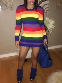 Red Rainbow Striped Bodycon Long Sleeve Round Neck Christmas New Year's Eve Mini Dress