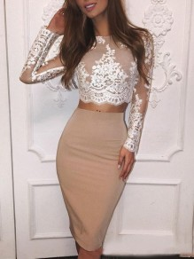 Beige Patchwork Lace Two Piece Bodycon Long Sleeve Round Neck Elegant Party Midi Dress