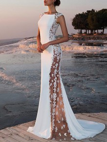 Maxi dress lace sheer round-neck mermaid banquet white