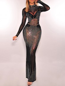 Black Patchwork Grenadine Rhinestone Bodycon Sparkly Glitter Long Sleeve Party Maxi Dress