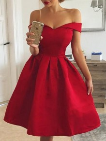 Red Draped Satin Boat Neck Short Sleeve Elegant Prom Wedding Midi Dress