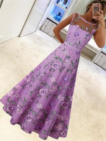 Purple Patchwork Grenadine Floral Pleated Prom Evening Party Maxi Dress