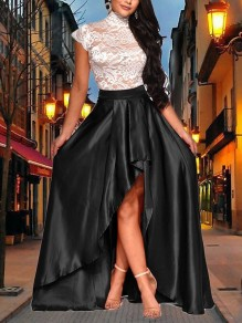 Black Patchwork Lace Pleated High-Low New Year's Eve Prom Evening Party Maxi Dress