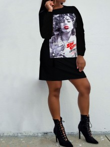 Black Marilyn Monroe Print Long Sleeve Round Neck Casual T-Shirt Mini Dress