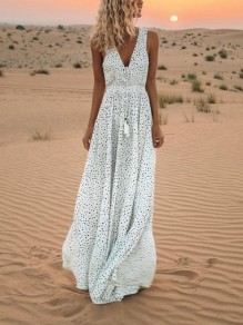 White Polka Dot Drawstring Pleated V-neck Bohemian Maxi Dress