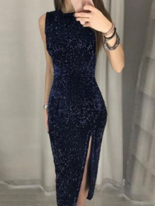 Navy Blue Patchwork Sequin Irregular Embroidery Sleeveless Party Midi Dress