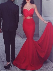 Red Bandeau Cut Out Off Shoulder Mermaid Banquet Wedding Party Maxi Dress
