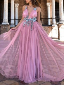 Pink Patchwork Grenadine Beading Deep V-neck Backless Flowy Chiffon Banquet Wedding Party Maxi Dress