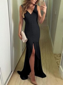 Black Irregular Single Breasted V-neck Mermaid High-low Banquet Evening Party Maxi Dress