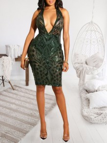 Green Geometric Sequin Deep V-neck Sparkly Bodycon Clubwear NYE Party Midi Dress