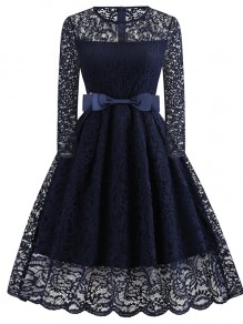 Navy Blue Patchwork Bow Lace Long Sleeve Party Midi Dress
