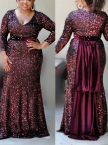 Burgundy Patchwork Sequin Bodycon Mermaid V-neck Long Sleeve Sparkly Glitter Party Maxi Dress