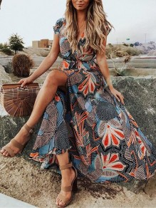 Grey Floral Print Belt Front Slit V-neck Bohemian Beacnwear Maxi Dress