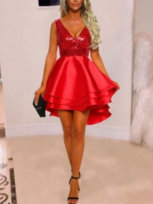 Red Patchwork Sequin Cascading Ruffle High-Low V-neck Sparkly Glitter New Year's Eve Mini Dress