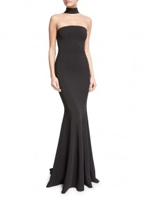 Black Fishtail Bodycon Round Neck Party Maxi Dresses