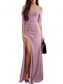 Pink Ruffle Boat Neck Fashion Polyester Maxi Dress