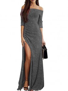 Grey Ruffle Boat Neck Fashion Polyester Maxi Dress