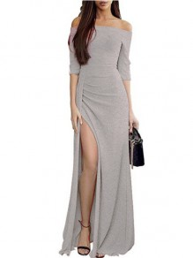 Silver Ruffle Boat Neck Fashion Polyester Maxi Dress