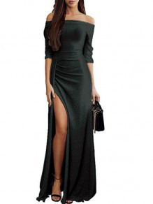 Black Ruffle Boat Neck Fashion Polyester Maxi Dress