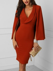 Red Cut Out Irregular Plunging Neckline Long Sleeve Elegant Midi Dress