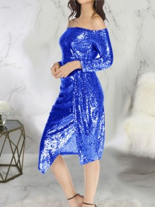 Blue Patchwork Sequin Side Slits Off Shoulder Long Sleeve Sparkly Glitter New Year's Eve Midi Dress