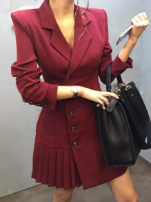 Wine Red Patchwork Pockets Buttons Pleated Tailored Collar Elegant Midi Dress