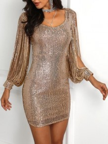 Golden Patchwork Tassel Sequin Round Neck Sparkly Bodycon Birthday Party Mini Dress