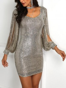 Silver Patchwork Tassel Sequin Round Neck Sparkly Bodycon Birthday Party Mini Dress