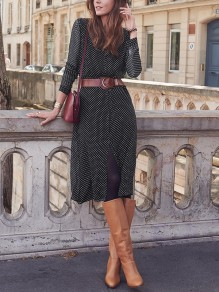 Black Polka Dot Slit Bodycon Round Neck Long Sleeve Going out Midi Dresses