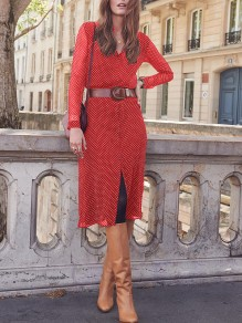 Red Polka Dot Slit Bodycon Round Neck Long Sleeve Going out Midi Dresses