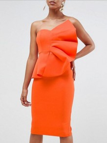 Orange Ruffle Off Shoulder Backless Bodycon Elegant Party Midi Dress