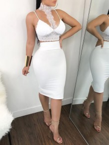 White Patchwork Lace Halter Neck Two Piece Bodycon Elegant Party Midi Dress