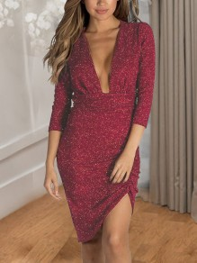 Red Sequin Irregular Pleated Deep V-neck 3/4 Sleeve Sparkly Birthday Party Midi Dress