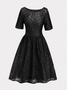 Black Patchwork Lace Draped Short Sleeve Elegant Midi Dress