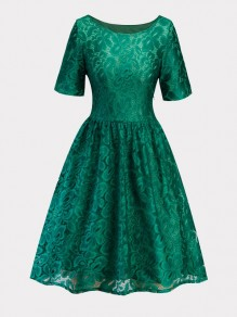 Green Patchwork Lace Draped Short Sleeve Elegant Midi Dress