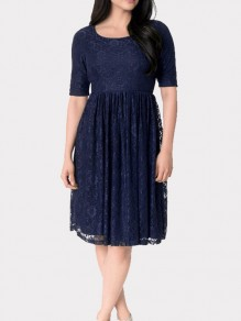 Navy Blue Patchwork Lace Draped Short Sleeve Elegant Midi Dress