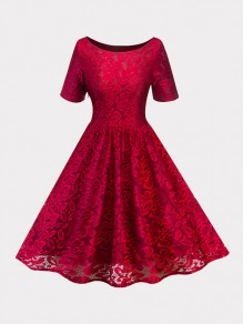 Wine Red Patchwork Lace Draped Short Sleeve Elegant Midi Dress
