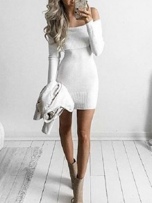 White Off Shoulder Long Sleeve Knitwear Fashion Mini Dress