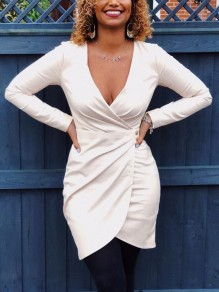 White Pleated Bodycon V-neck Long Sleeve Party Mini Dress