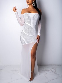 White Patchwork Rhinestone Grenadine Off Shoulder Backless Bodycon Sparkly Glitter Long Sleeve New Year's Eve Party Maxi Dress