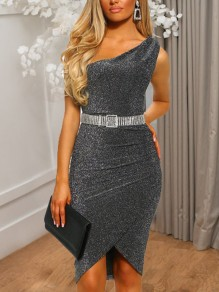 Grey Bright Wire Asymmetric Shoulder Irregular High-Low Bodycon Sparkly Glitter New Year's Eve Party Midi Dress