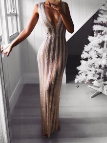 Sliver Patchwork Sequin Glitter Sparkly Deep V-neck Sleeveless Sheer Bodycon Elegant Party Maxi Dress
