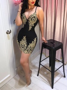 Black Patchwork Lace Spaghetti Strap Bodycon Deep V-neck Party Mini Dress