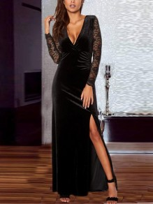 Black Patchwork Lace Irregular Draped Side Slit V-neck Long Sleeve Elegant Maxi Dress
