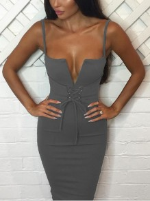Grey Buckles Bodycon Deep V-neck Going out Midi Dress