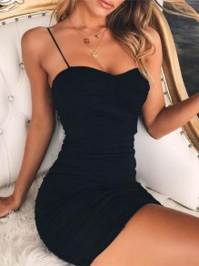 Black Ruffle Bodycon Boat Neck Mini Dress