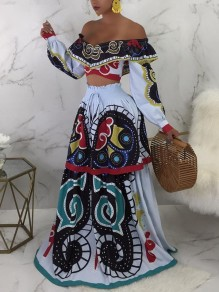 White Tribal Print Off Shoulder Two Piece Long Sleeve Bohemian Party Maxi Dress