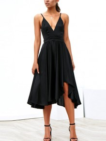 Black Draped Condole Belt Bow Tie Back Irregular Backless V-neck Sleeveless Elegant Midi Dress