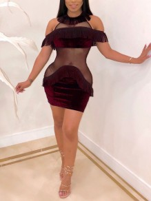 Burgundy Patchwork Grenadine Tassel Off Shoulder Bodycon New Year's Eve Party Mini Dress