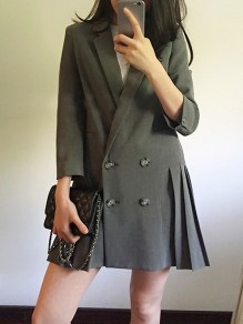 Grey Pleated Draped Pockets Double Breasted Tailored Collar Long Sleeve Elegant Mini Dress